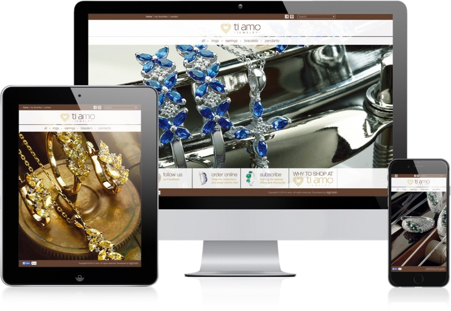 Ti Amo Jewellery Website Responsive Layout
