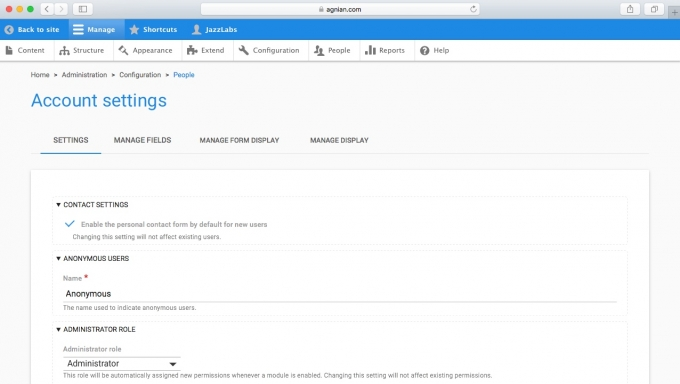 Agnian Material Design Account Settings Drupal 8