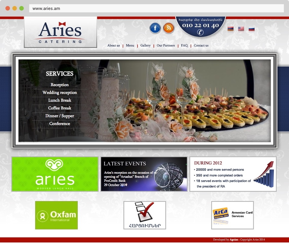 Aries Catering Front Page Screenshot