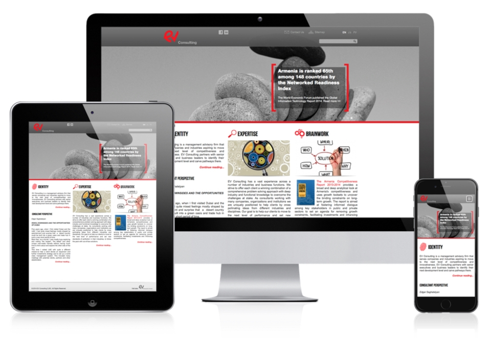 EV Consulting Responsive Layout of the website