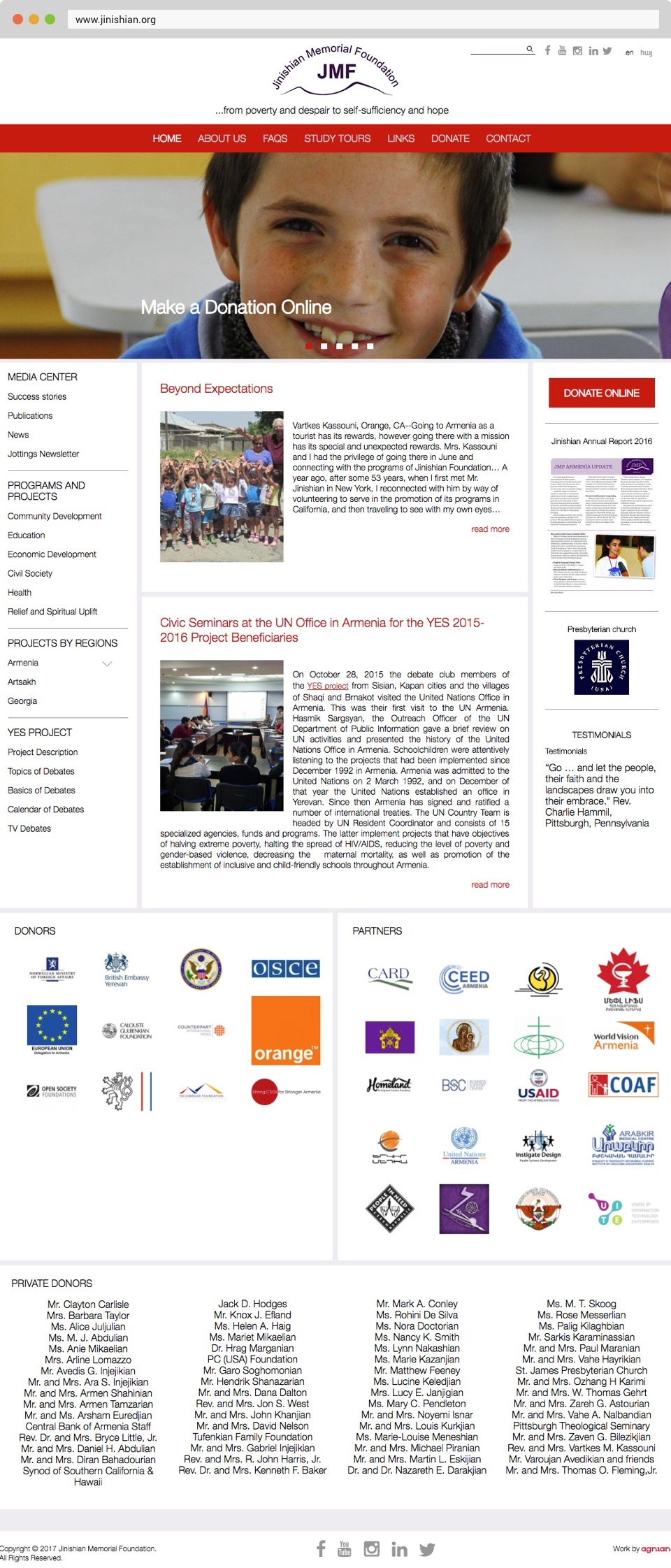Jinishian Memorial Foundation Front Page Screenshot