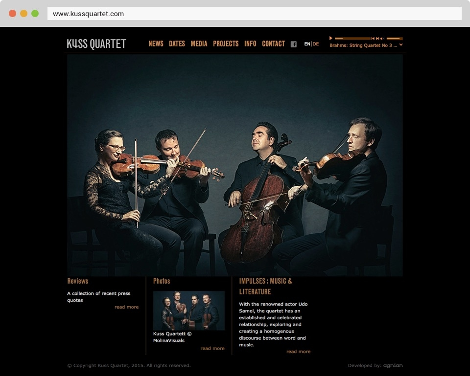 Kuss Quartet Front Page Screenshot