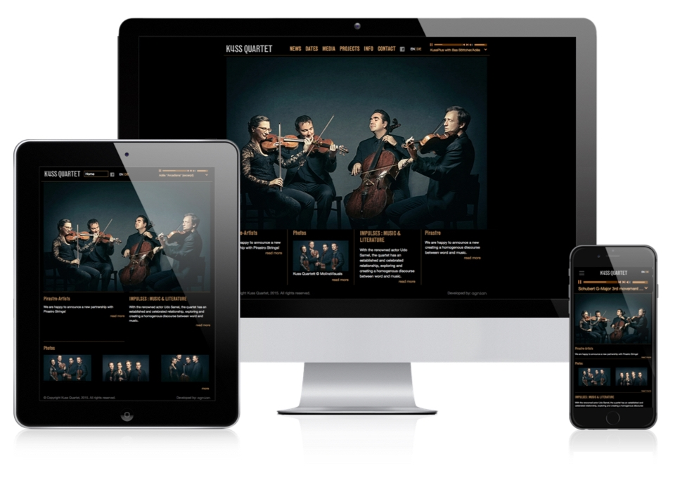 Kuss Quartet Website Responsive Layout