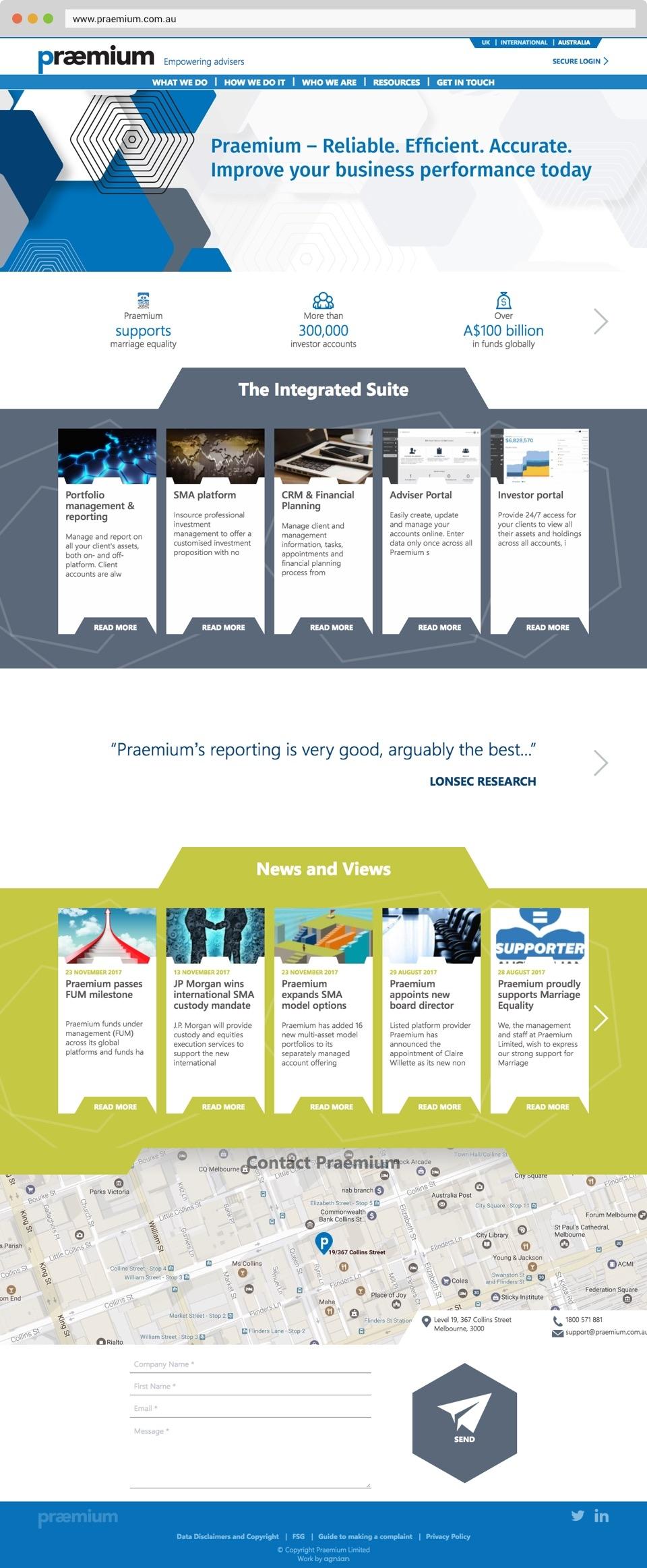 Praemium - Website Front Page Screen
