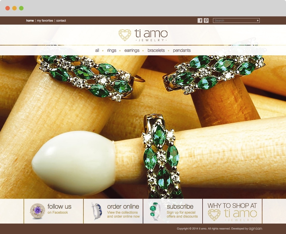 Ti Amo Jewellery Website Front Page Screen