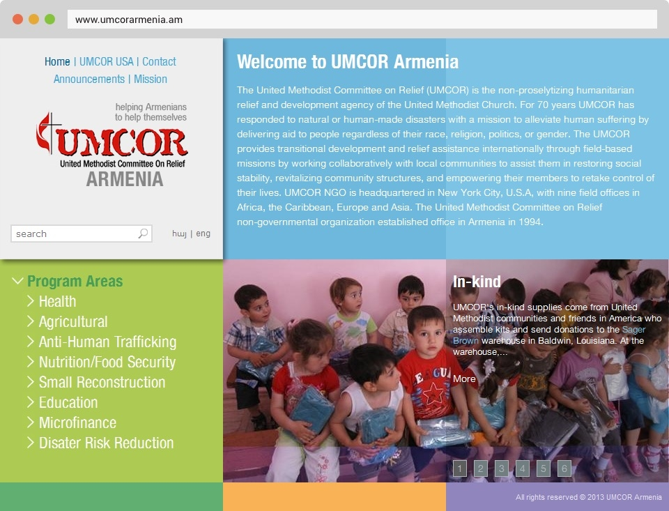 Agnian - UMCOR Foundation Front Page Screenshot