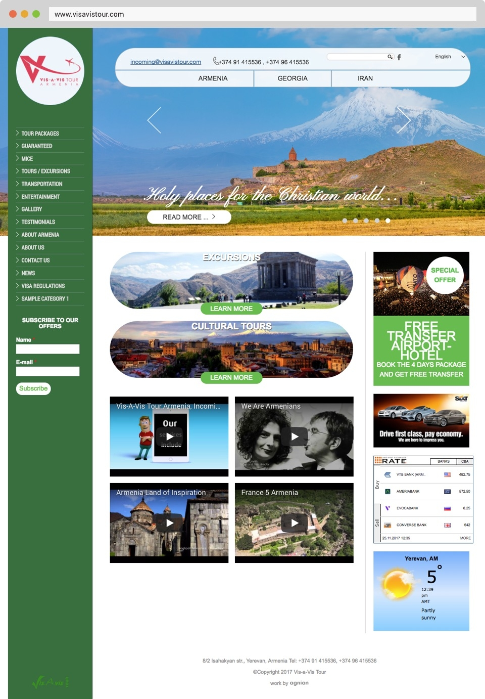 Vis A Vis Tour Agency Front Page Screenshot